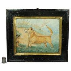 Antique Small Folk Art Dog Watercolor Painting, Naïve Circa 1919