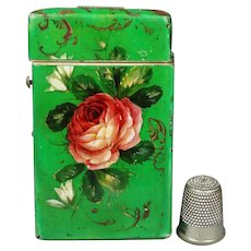 Antique Visiting Card Case Rare Green Papier Mache Pink Hand painted Rose Calling Card Circa 1840