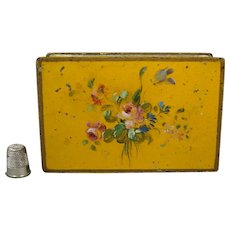 19th Century Small Hand Painted Tole Box Yellow Floral Folk Art Circa 1900