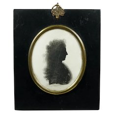 Rare 18th Century Portrait Silhouette On Plaster by J. Thomason, Fashionable Georgian Lady Wearing a Bandeau Circa 1795