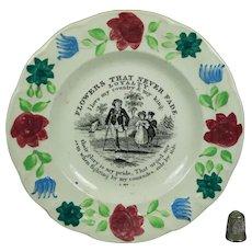 19th Century Staffordshire Childs Plate - Flowers That Never Fade, Nursery Ware, Sailors Return Circa 1820 Maritime Nautical Napoleonic War