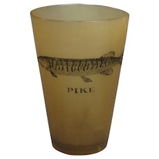 19th Century Scottish Horn Drinking Beaker Engraved Pike, Fishing Angling Country Pursuits Circa 1860