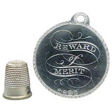 19th Century Georgian Sterling Silver Reward Of Merit Medal Token Grove House Academy Woodford Essex 1811