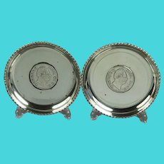East India Company Miniature 1835 Silver Plated Rupee Trays British Anglo Indian History
