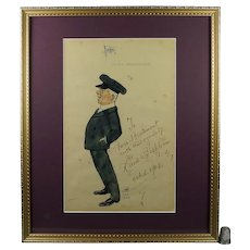UNIQUE American Opera, David Bispham Signed Caricature 1903,  US Operatic Baritone On USMS Philadelphia Paper