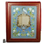 Victorian Red Leather Perpetual Calendar Desk Blotter Hand Painted Cover