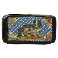 19th Century Beadwork Purse Etui Case RARE Dog DASH Queen Victoria's Spaniel Beaded Punch Paper Circa 1860 AF