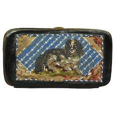 19th Century Beadwork Purse Etui Case RARE Dog DASH Queen Victoria's Spaniel Beaded Punch Paper Circa 1860 AF