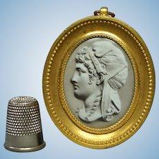 19th Century French Miniature Enamel of Liberty, by Lafon de Camarsac 1869 Gilt Bronze Frame, Photographic History, Doll House Size, Phrygian Cap, French Revolution.