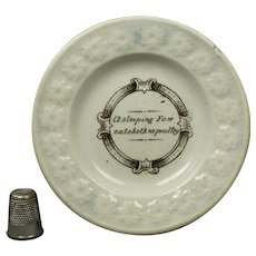 19th Century Miniature Benjamin Franklin Maxim Childs Plate Transferware A Sleeping Fox Circa 1830 Georgian