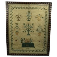 19th Century Sampler Home Sweet Home House Dog Flowers, Margaret Bullock 1843 Pretty Folk Art Look