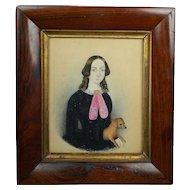 Rare 19th Century Folk Art Miniature Portrait Lady and Dog by W Murray 1849 American