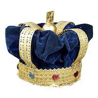 Antique Victorian Crown, Gilt, Blue Velvet and Paste Jewels, Adult Size Circa 1870