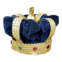 RARE Large 19th Century Crown English Coronation Crown Gilt Velvet Paste Jewels Circa 1870