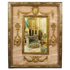 19th Century French Empire Frame, Ormolu , Pink Silk Circa 1880