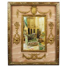 Antique 19th Century French Empire Ormolu Frame, Pink Silk Circa 1880