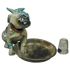 RESERVED KR Miniature 19th Century Austrian Cold Painted Nodding Dog French Bulldog Circa 1890