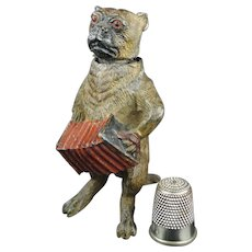 Miniature 19th Century Vienna Cold Painted Nodding Pug Dog Playing Accordion Circa 1890