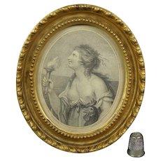 18th Century Miniature Cipriani Bartolozzi Stipple Engraving Print Lady Cockerel Vigilance Circa 1780