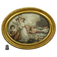 18th Century Georgian Stipple Engraving Doll, Children, Geese, Dog by Edward Orme English 1796