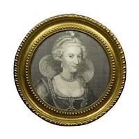 Georgian Engraving Rare Large Circular Pressed Brass Frame, Anne of Denmark, Circa 1786