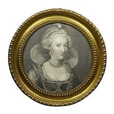 Georgian Engraving Rare Large Circular Pressed Brass Frame, Anne of Denmark  Circa 1786