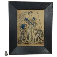19th Century Engraving Queen Victoria, Hand Colored Print STUNNING Painted Folk Art Frame Circa 1837