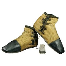 RARE Children's Early 19th Century Adelaide Boots Side-lacing Gaiter Boot Half Boot Circa 1840