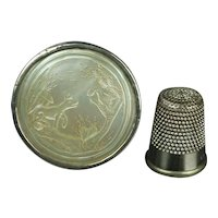 18th Century Gaming Counter Box and Tokens Aesop's Fables The Fox and The Crow Sterling Silver C 1800