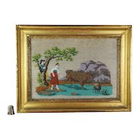 19th Century French Beadwork Sampler Picture Young Lovers, Rural Landscape Scene Farmer Cow Sheep Circa 1820