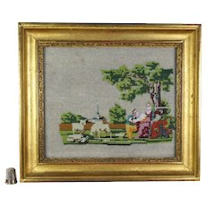 19th Century French Beadwork Picture, Beaded Sampler, Marriage Proposal, Romantic Dog Sheep Circa 1820