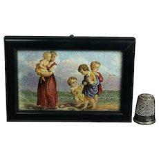 Framed Miniature Prattware Pratt Ware Pot Lid Children Shell Picking on Beach C 1860