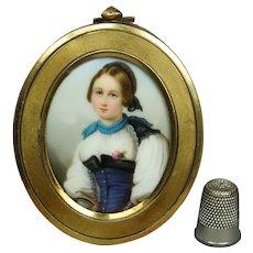 19th Century Portrait Miniature on Porcelain, Little Girl, Hand Painted, Gorgeous Frame Circa 1850