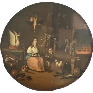 Stobwasser Papier Mache Snuff Box Lid ONLY, Dutch Kitchen Interior After Teniers, C 1800 AF