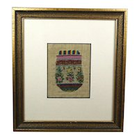 Antique Miniature Regency Beadwork Beaded Purse Unfinished Framed Delightful English Circa 1820
