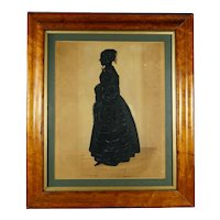 Antique 19th Century Silhouette by Edgar Adolphe, Full Length Portrait, Young Lady Circa 1840