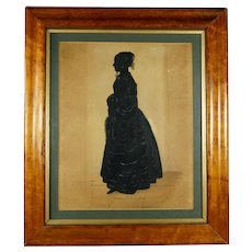 19th Century Edgar Adolphe Silhouette Full Length Portrait Silhouette Young Lady Circa 1840