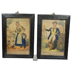 19th Century Pair Small Hand Colored Nursery Print Engraving Farmers Man And Farmers Wife by A Park Circa 1830