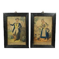 Georgian Pair Miniature English Hand Colored Engravings Farmers by A Park Circa 1830
