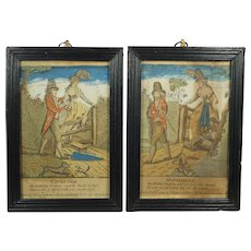 Miniature Pair 18th Century Hand Colored Engraving, Courtship And Matrimony,  C Shepard 1792 Rare