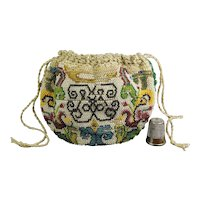 Rare French 18th century Sable beaded Purse, Drawstring Bag, Circa 1740 AF