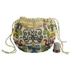 Rare French 18th century Sable beaded Purse, Drawstring Bag, Circa 1740 AF