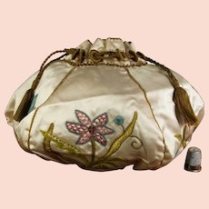 Edwardian Silk Drawstring Purse, Handbag, Reticule, Stunning Museum Quality, Circa 1920