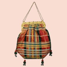 19th Century Reticule Handbag Purse Silk Taffeta Velvet Plaid Tartan Fabric Ornate Gilt Frame C 1840 AF