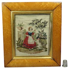 Mid 19th Century Small Needlework Needlepoint Woolwork Dog Girl Birds Eye Maple Frame Circa 1850
