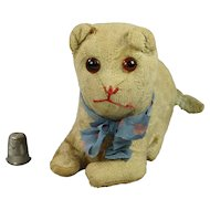 Antique Early 19th Century Toy Cat English Blue Mohair, As Found C 1919