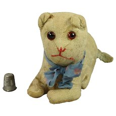 56eb044e5b9 Antique Early 19th Century Toy Cat English Blue Mohair