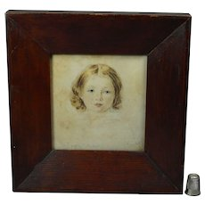 19th Century Folk Art Portrait Miniature Young Girl Charlotte Tucker 1848 Good Painted Frame