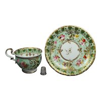 Early 19th Century Pretty Green Porcelain Cup And Saucer English Florals Ridgway Circa 1830