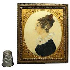 19th Century Georgian Portrait Miniature Of A Lady Stunning Daguerreotype Frame Circa 1820